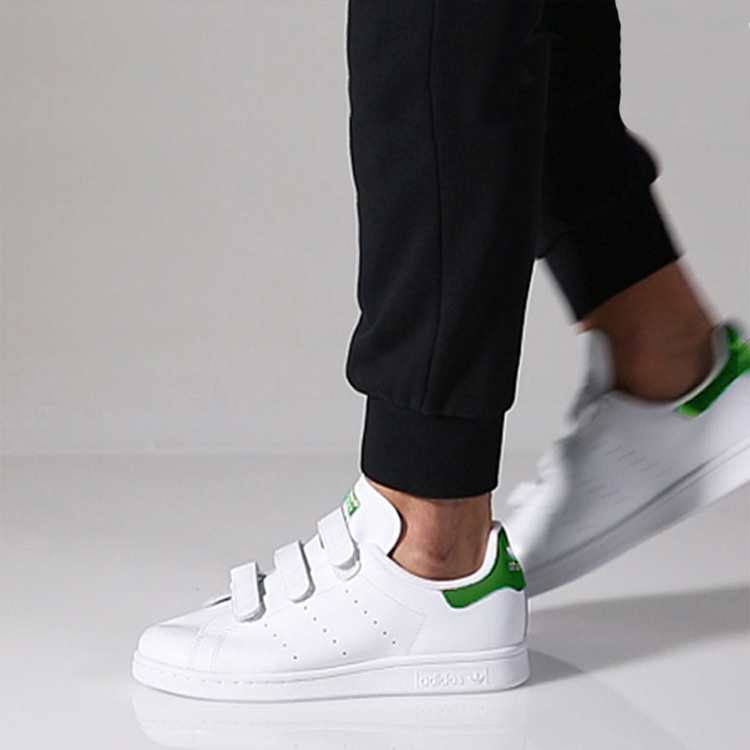 Adidas三叶草男女鞋 Stan Smith 史密斯魔术贴板鞋 小白鞋 S75187