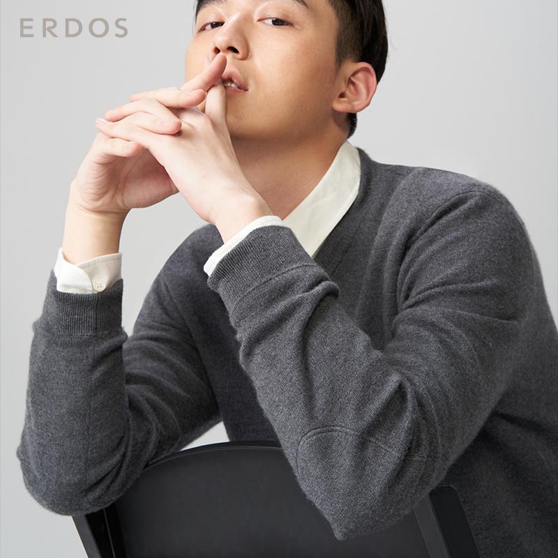 ERDOS 秋冬纯羊绒精纺V领双提男套衫针织衫E174A0054