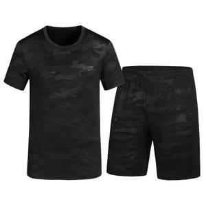 谷步夏季男式运动套装时尚大码休闲男士两件套大码T桖青年五分裤