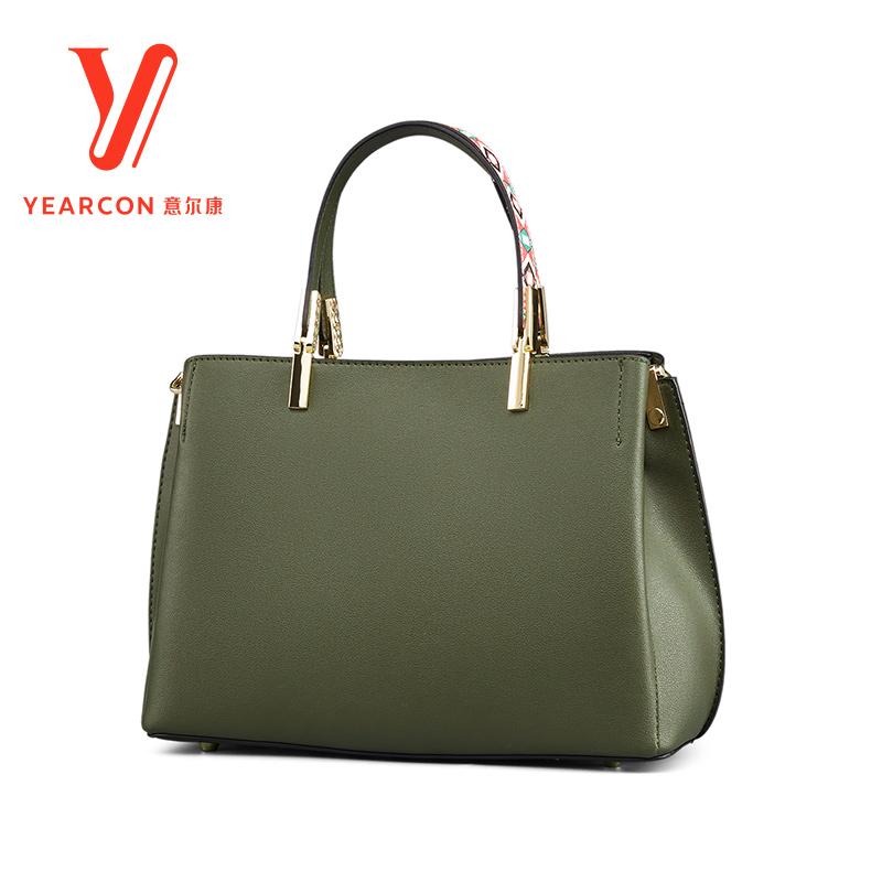 意尔康女包包纯色手提包女2018新款欧美时尚手提中包手拎包通勤包