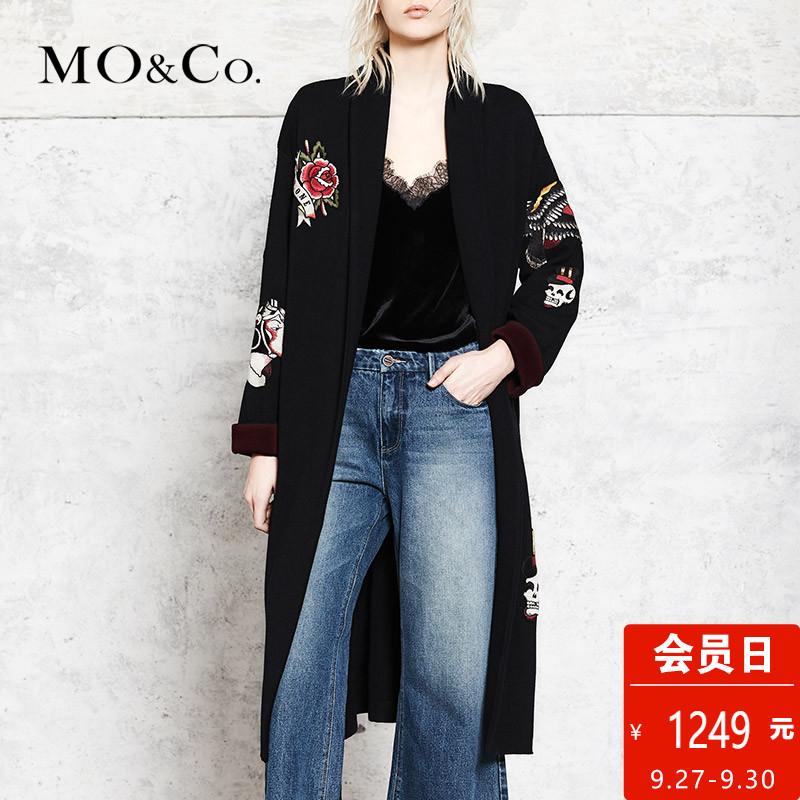 MOCO针织开衫毛衫女宽松休闲外套MA173CAR310 摩安珂