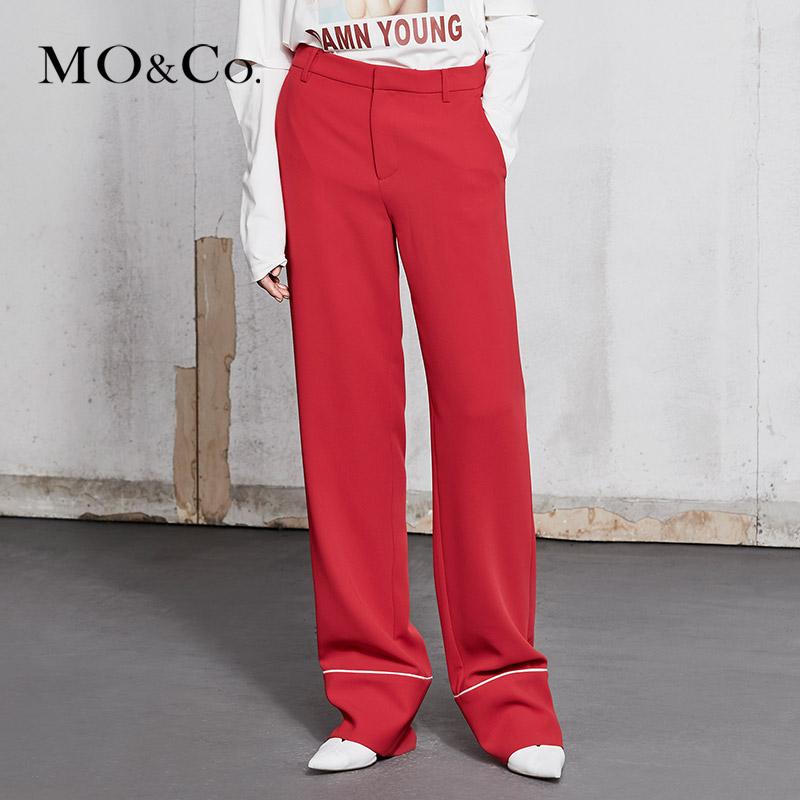 MOCO2018春季新品睡衣风镶边装饰西裤MA181PAT107 摩安珂