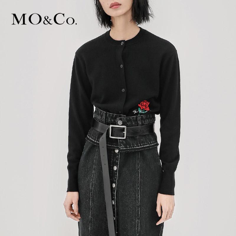 MOCO2018秋新品玫瑰图案短款长袖圆领针织开衫MA183CAR310摩安珂