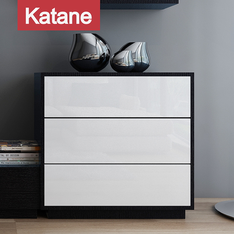 现代简约电视柜斗柜客厅三斗黑色白色烤漆收纳边柜定制北欧风格