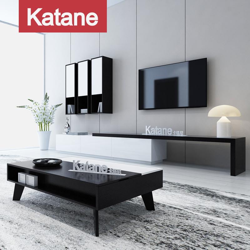 北欧现代简约茶几电视柜组合客厅背景墙家具黑白伸缩烤漆地柜整装
