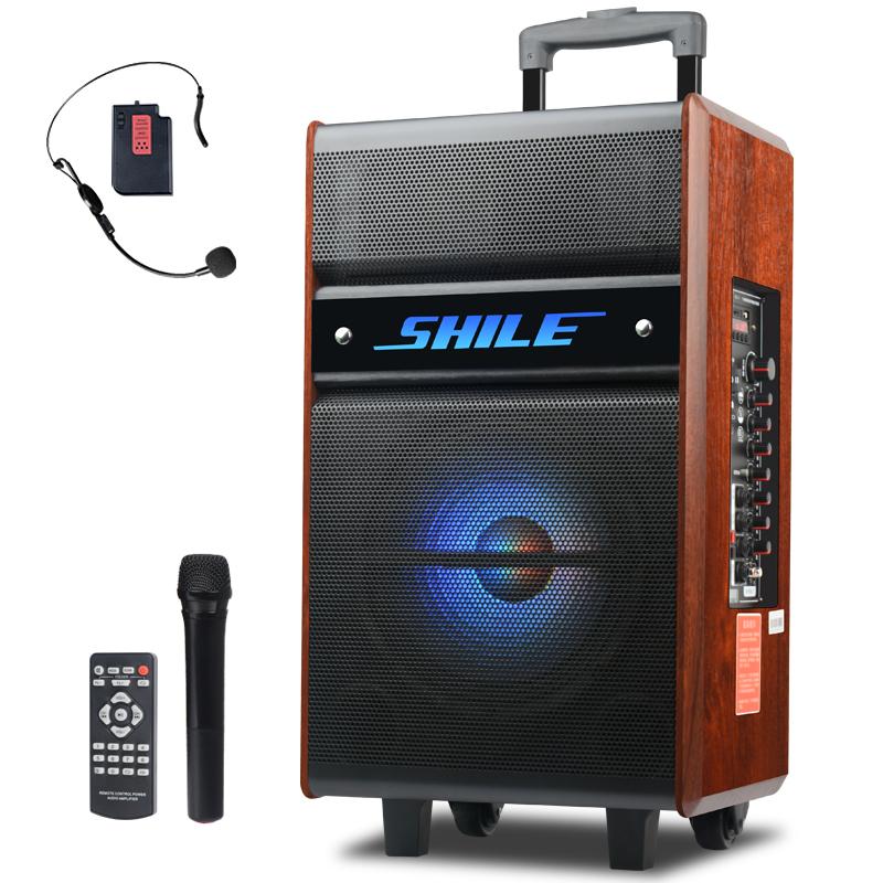 狮乐(SHILE)广场舞音响户外拉杆音箱便携式木质电瓶蓝牙移动音箱