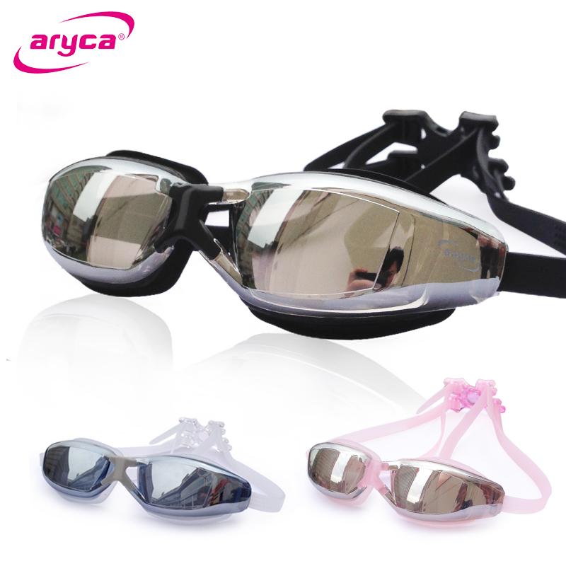 雅丽嘉aryca大框泳镜高清防雾男-女电镀平光-近视游泳眼镜