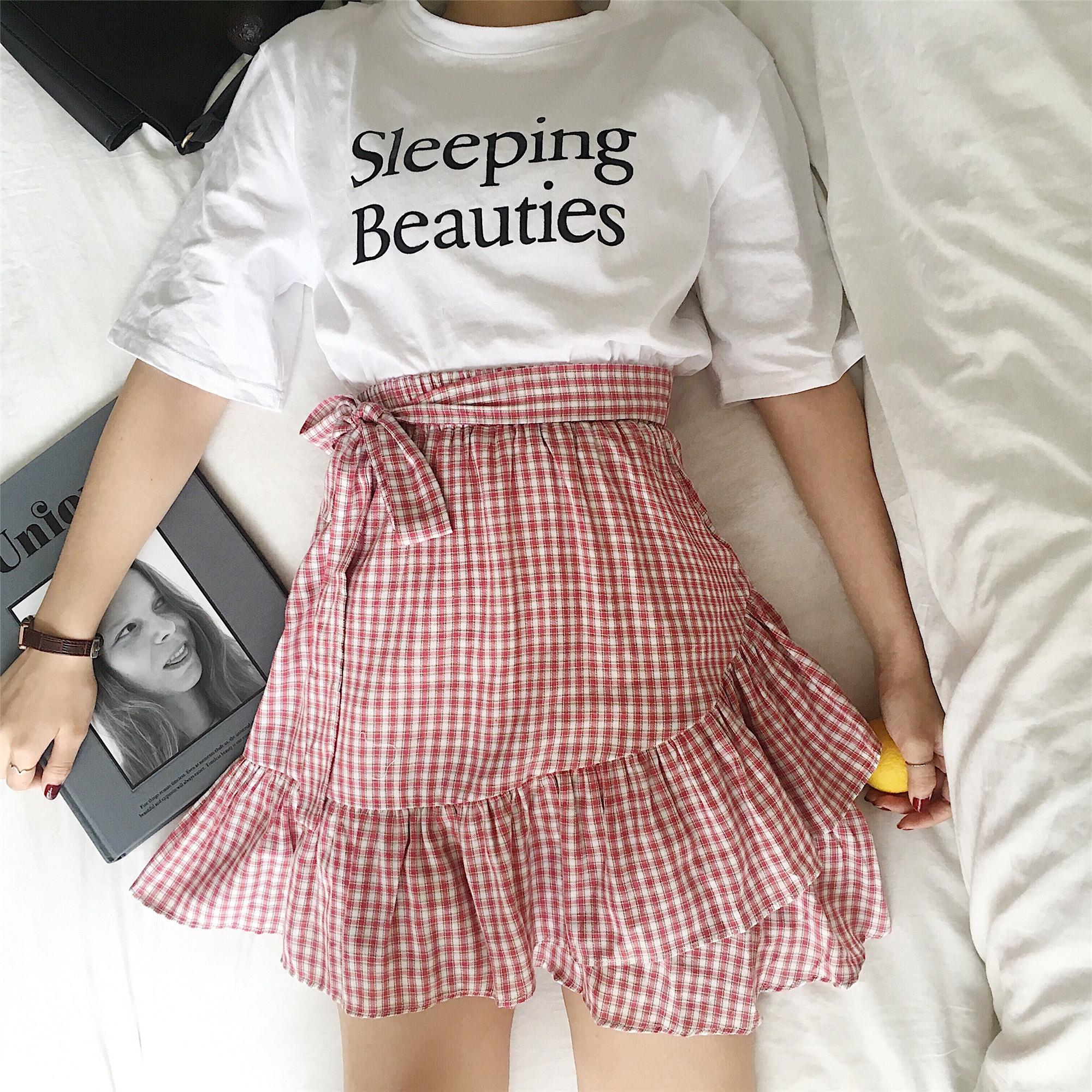 实拍   韩版百搭小清新格子A字裙高腰显瘦系带短裙