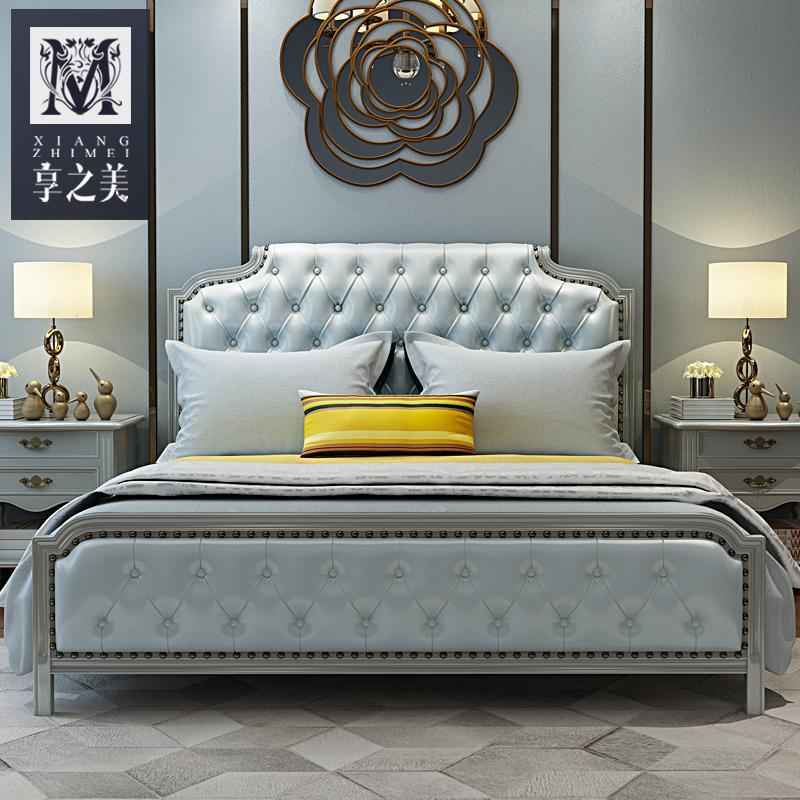 享之美 新美式床实木床1.8米主卧现代美式乡村床家具婚床双人床