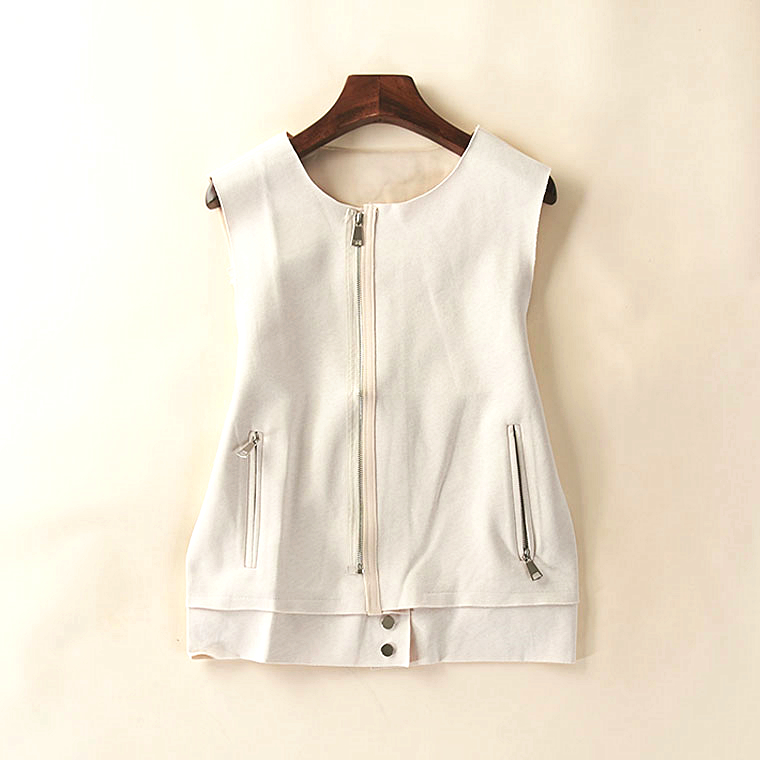 16572 Spring and Autumn new women's korean style leisure zipper steamy gas-free sleeveless horse clip jacket July 9