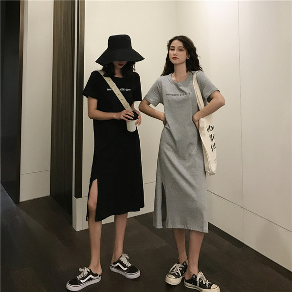 Control Price 33 Real-time 3687 # Hong Kong Wind Letter Printed Round Neck Loose Medium-long T-shirt Dress Open-forked Bottom Skirt