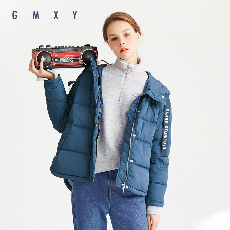古木夕羊-GMXY2018冬款新品羽绒服女短款休闲连帽外套女英伦风