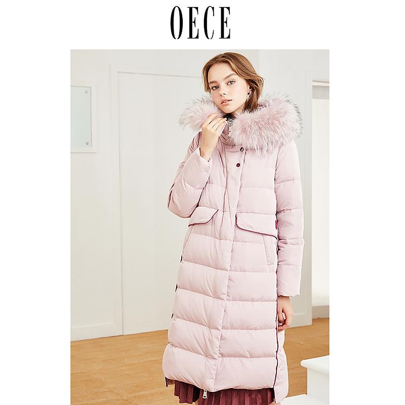 Oece2018冬装新款女装大毛领羽绒服女中长款韩版时尚口袋过膝外套