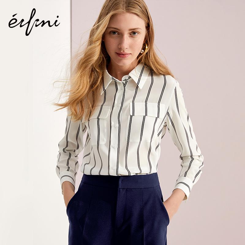 伊芙丽2018春装新款衬衣白色气质chic真丝条纹长袖衬衫女韩范
