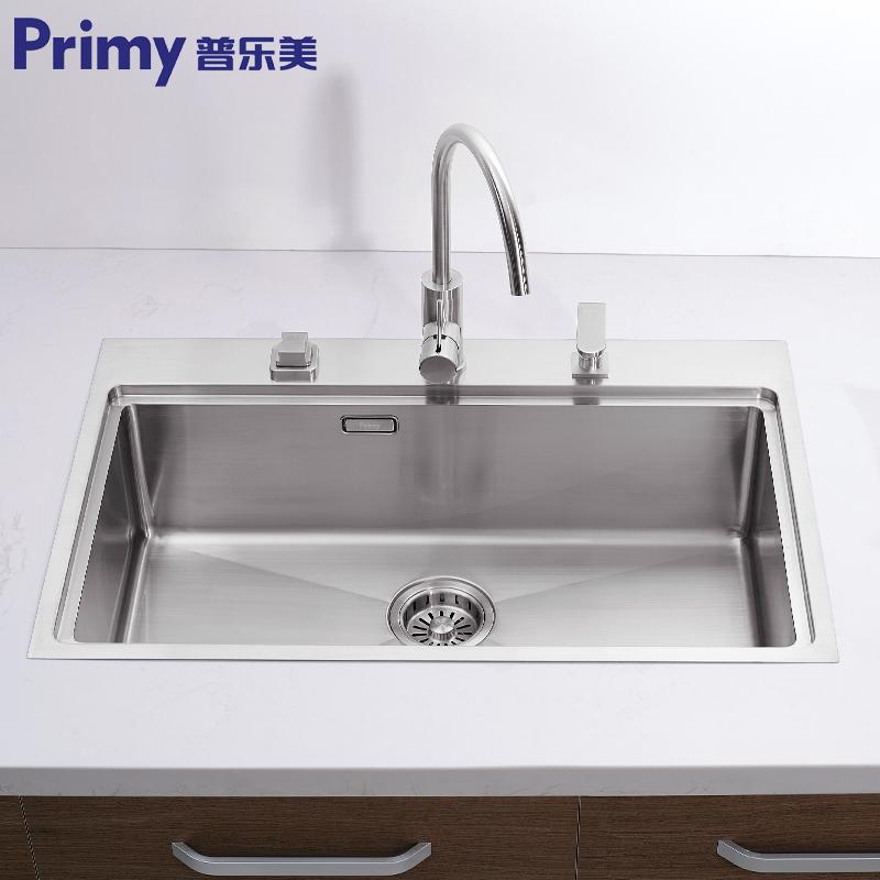 普乐美加厚304不锈钢手工水槽单槽KB171