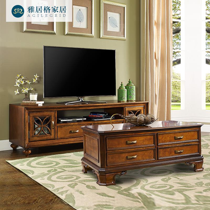 雅居格美式鄉村實木電視柜1.8米客廳矮柜組合復古電視機柜M5112z