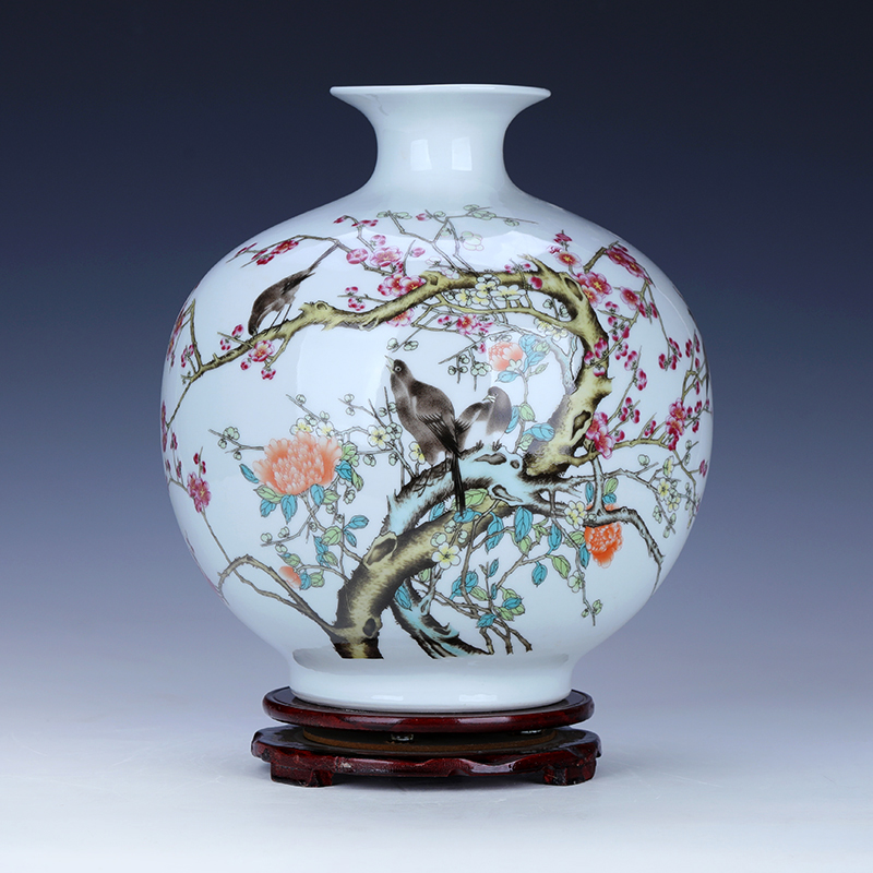 Home rich ancient frame China name plum flower round belly sitting room adornment flower arranging small porcelain jingdezhen ceramic vase