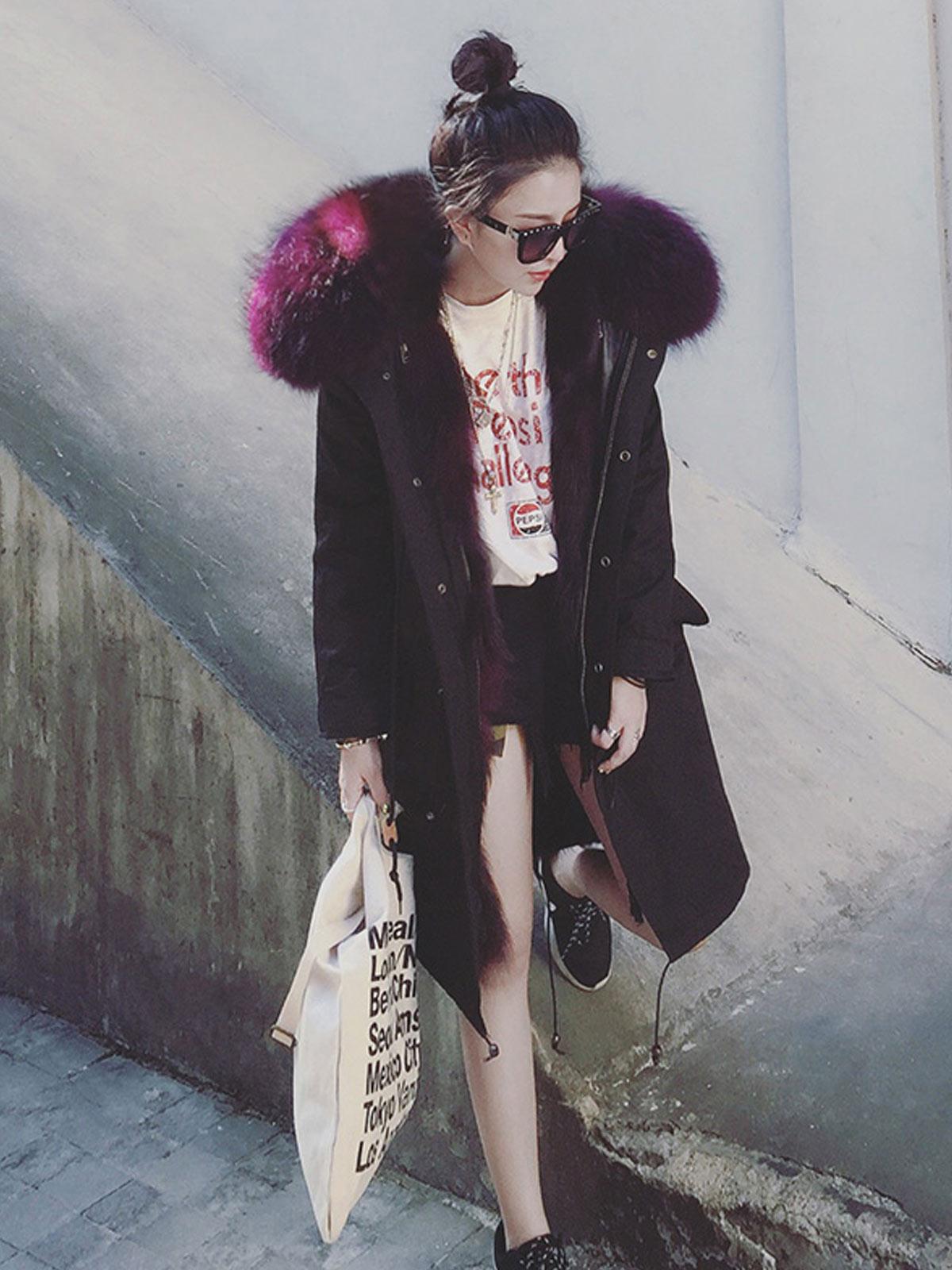 狐狸毛内胆外套来自星星的你同款周冬雨派克大衣连帽中长款皮草女