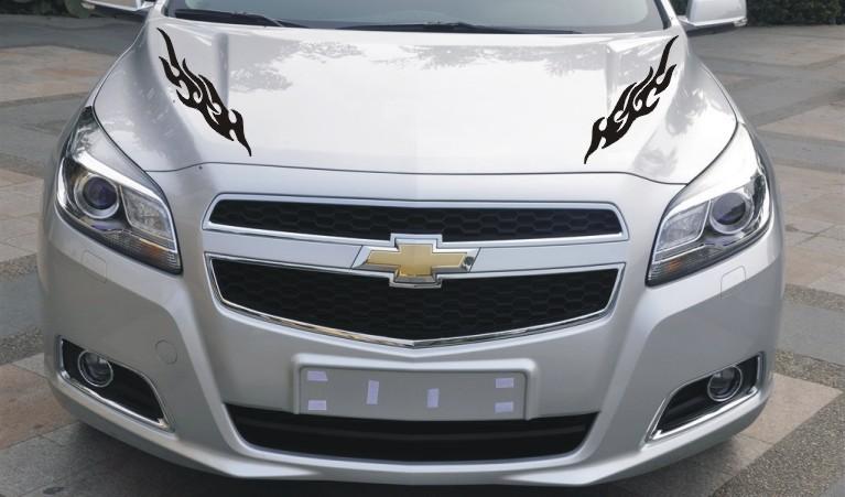 汽车贴纸 改装火焰车贴 车用保险杠贴 后视镜车头盖贴 遮挡划痕高清图片