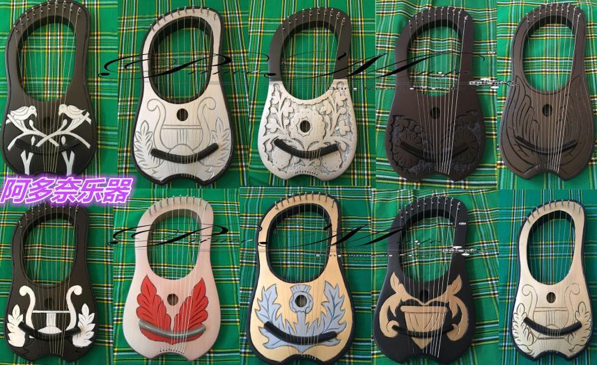 英国进口乐器 里拉琴 小竖琴 10弦 紫檀木 lyre琴 手工雕刻莱雅琴图片