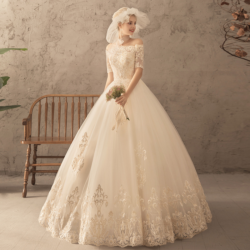 一字肩主婚纱礼服2018新款新娘结婚欧式大码显瘦齐地长袖赫本女