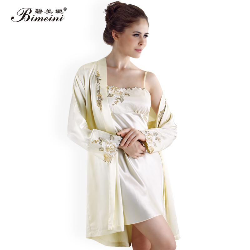 碧美妮秋季女士性感纺真丝睡衣韩版休闲长袖套装两件套大码家居服