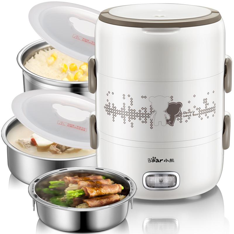 小熊电热饭盒DFH-S2358蒸煮电饭盒加热饭盒蒸饭器三层可插电便携