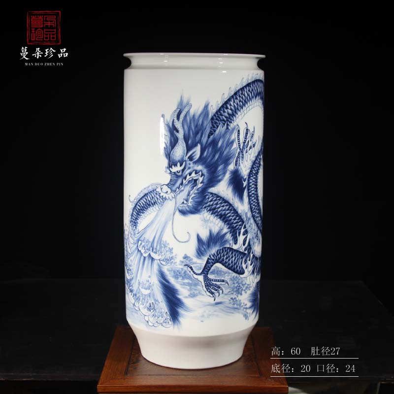 Jingdezhen hand - made dragon porcelain vase sea dragon big vase longteng universal Peng who hand - made works