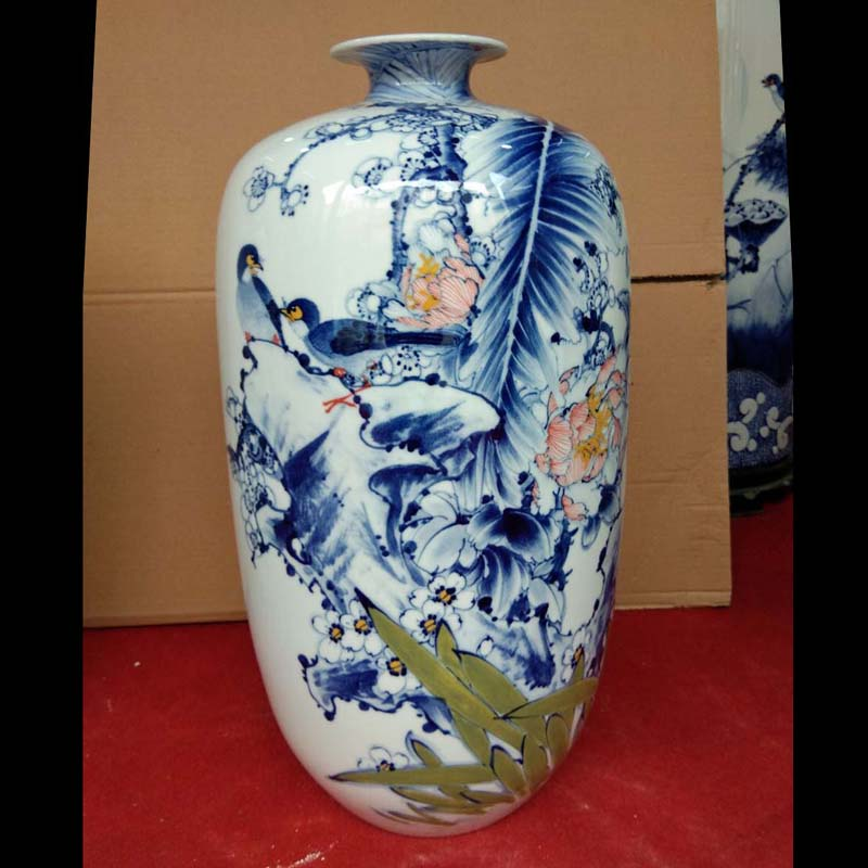 Jingdezhen hand - made flowers and birds crane, decorative vase 70-80 - cm high see sitting room decorate gifts vase