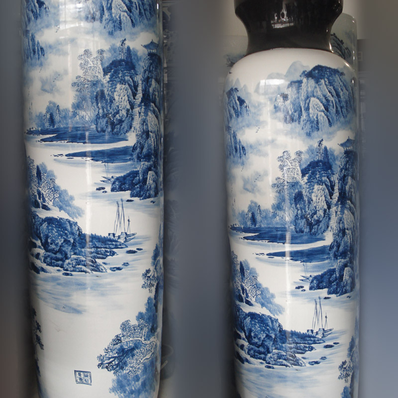 Jingdezhen hand - made style straight vase is 2.2 meters high pure hand - made landscape of the big companies display vase