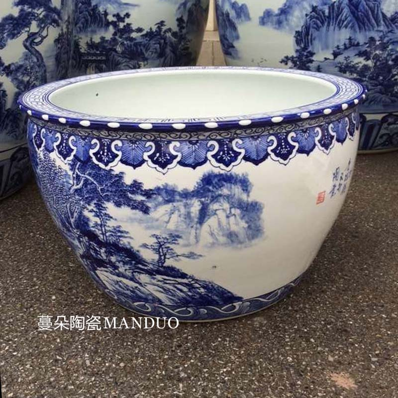 Jingdezhen hand made blue and white porcelain in large cylinder m fish farming water lily plant trees and flowers, the tortoise VAT porcelain high temperature cylinder