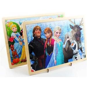 迪士尼 激光木质拼图60/100片冰雪奇缘儿童3-5-6岁8益智玩具女孩