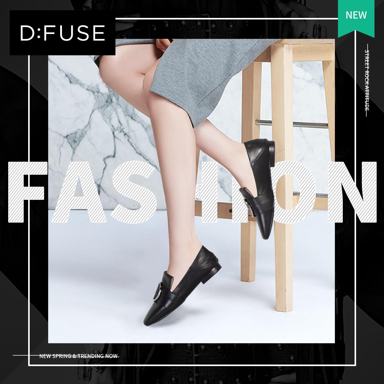 D:Fuse-迪芙斯2018新款秋乐福鞋女一脚蹬英伦低跟单鞋DF81112052