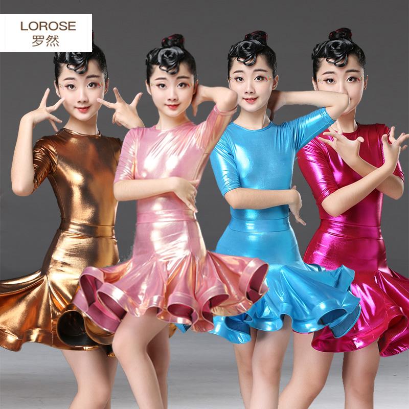 新款儿童拉丁舞裙女童春秋舞蹈服练功服演出服考级表演夏款短中袖
