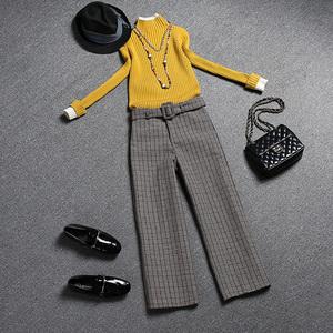 欧洲站秋冬时髦套装裤女装时尚气质两件套2017新款毛衣欧货上衣潮
