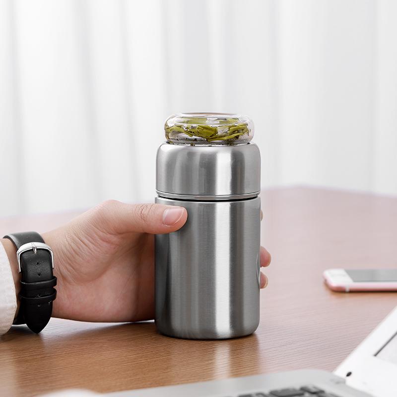 茶水分离便携保温杯泡茶杯子男女网红高档不锈钢矮胖型迷你小水杯