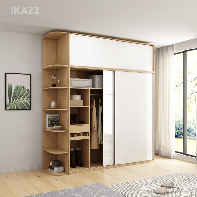 现代简约衣柜组合经济型整体推拉门衣帽柜趟门衣柜卧室移门大衣厨