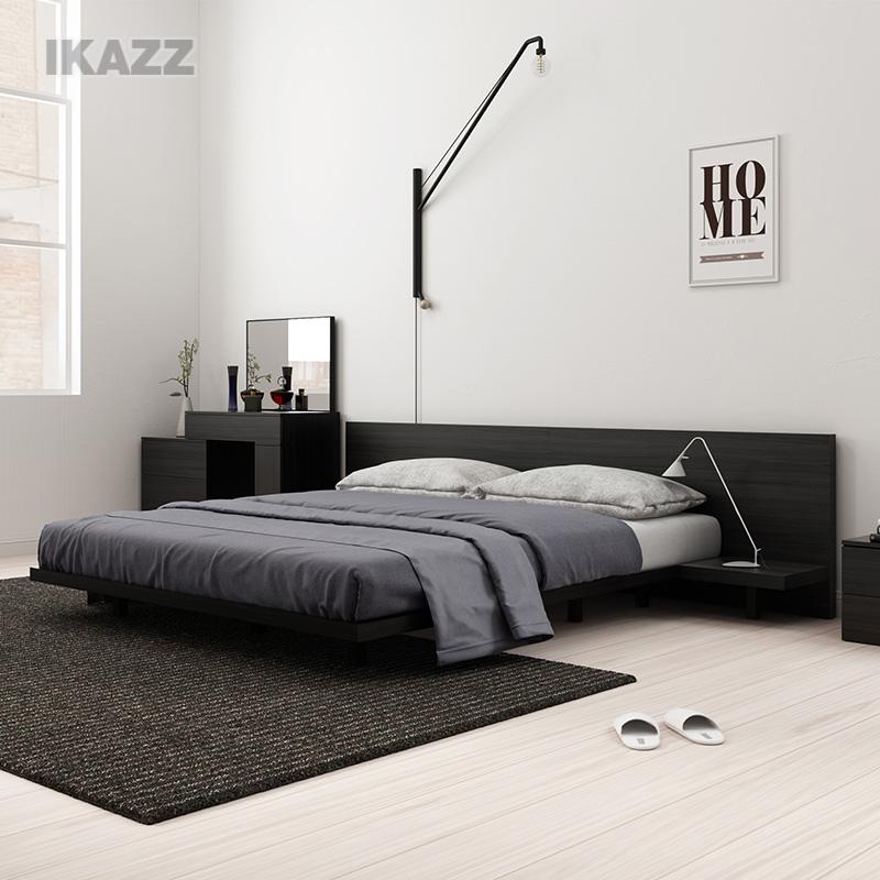 北欧现代简约1.5m板式床1.8米双人床榻榻米床屏靠背主卧大床STJT