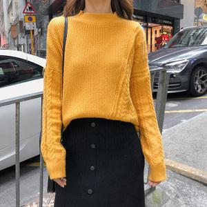2018秋季新款半高领毛衣女款宽松显瘦打底针织衫F5420