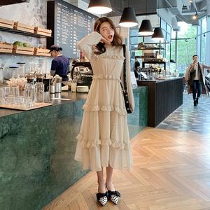2019新款韩版春季荷叶边波点连衣裙女中长款打底裙F5799