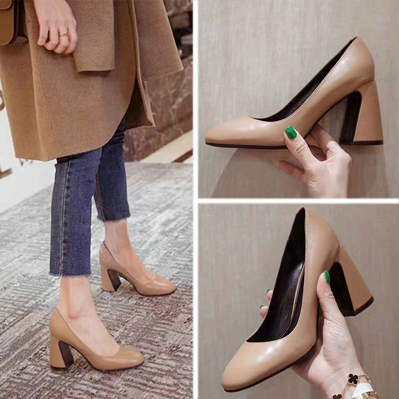 Spring and autumn new high heeled shoes retro wine red round head Nude shoes light mouth thick heel European and American womens shoes