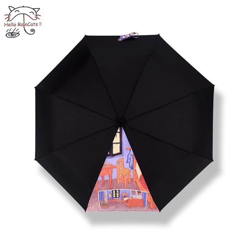 Raincats梵高太阳伞黑胶超强防晒防紫外线遮阳伞女五折超轻小雨伞