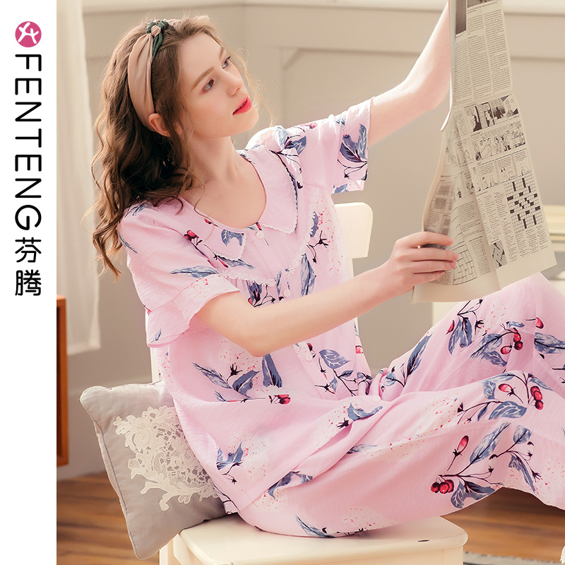 Fengteng summer pajamas women short-sleeved trousers woven cotton thin two-piece suit cute girl cotton home service