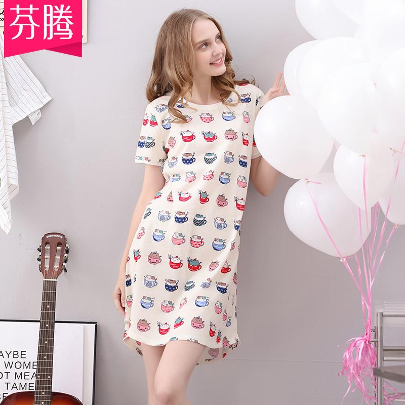 芬腾纯棉睡衣女夏季短袖可爱卡通少女全棉睡裙可外穿家居服连衣裙