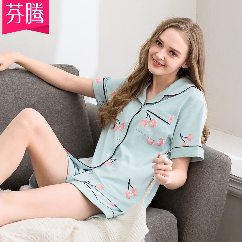 Fenten's new pyjama women's summer cotton short-sleeved shorts can be worn outside the cotton large size loose house suit summer