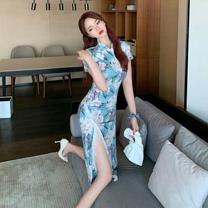 控价+5 实拍 复古兰花印花开叉蕾丝长款旗袍连衣裙 9607...