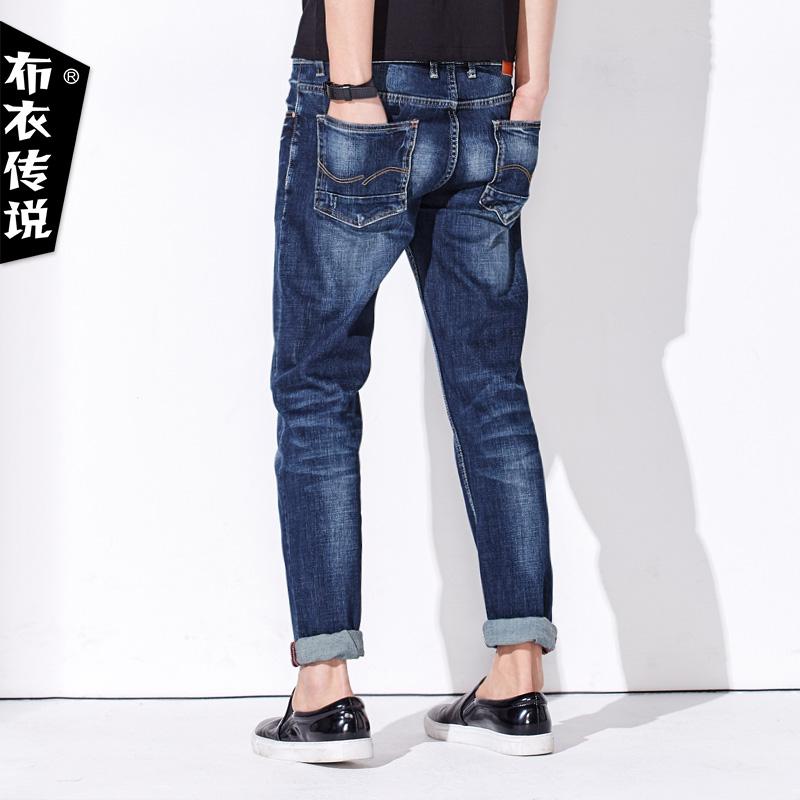 布衣传说原创男装春季新款男士直筒长裤子磨白青年修身小脚牛仔裤产品展示图4