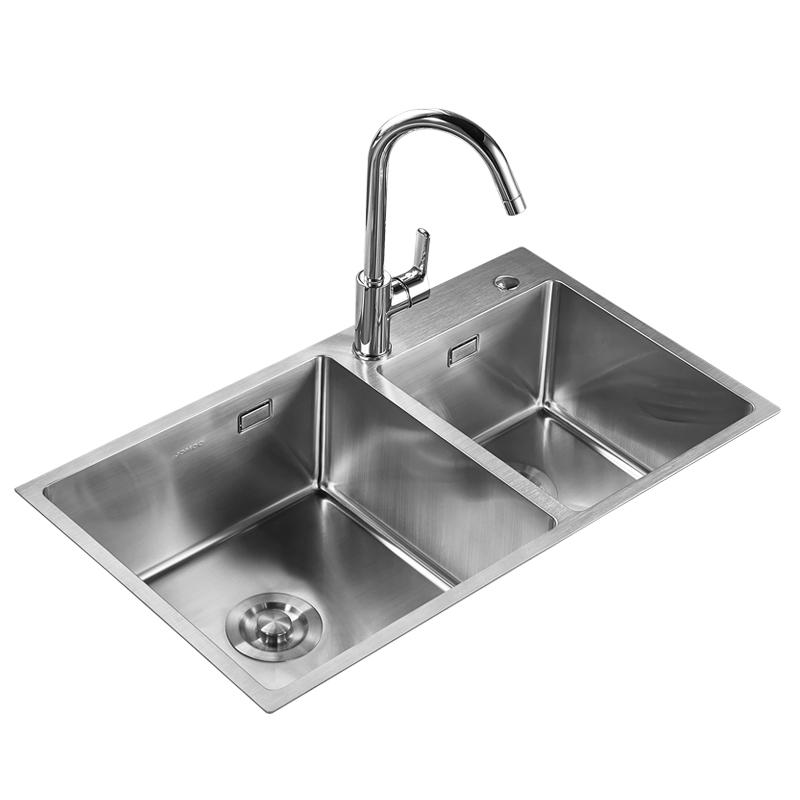 九牧不锈钢水槽双槽套餐 抽拉龙头手工双槽 厨房洗菜盆06159-158