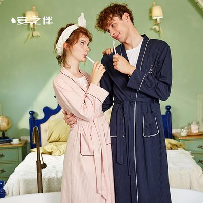 安之伴纯棉睡袍情侣睡衣女秋日式系带浴袍宽松大码男士长袖家居服