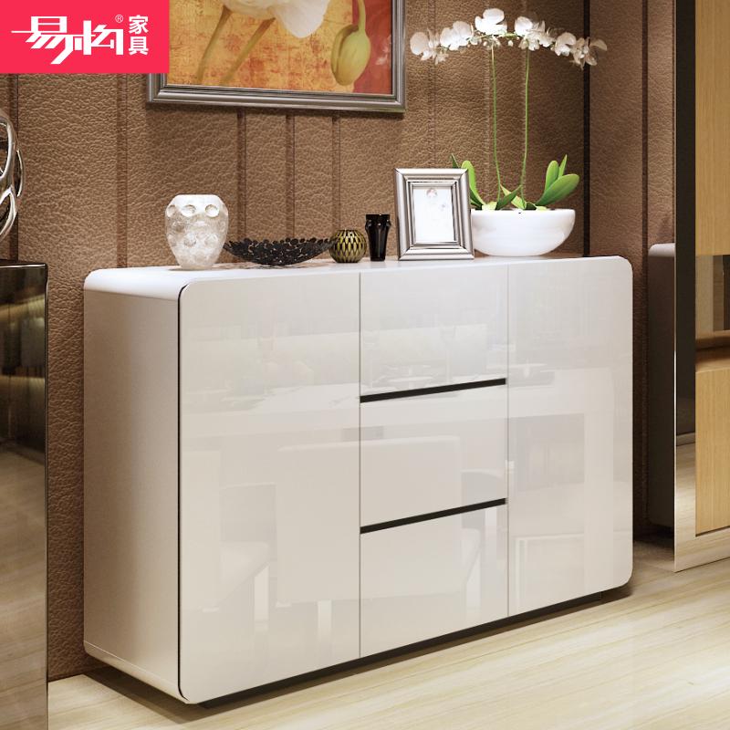 易构餐边柜餐厅酒柜白色烤漆储物柜厨房经济型客厅简约现代茶水柜